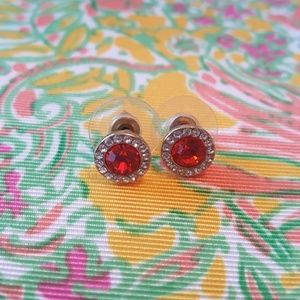 FORNASH SMALL RED RHINESTONE BLING ALEXIS STUDS
